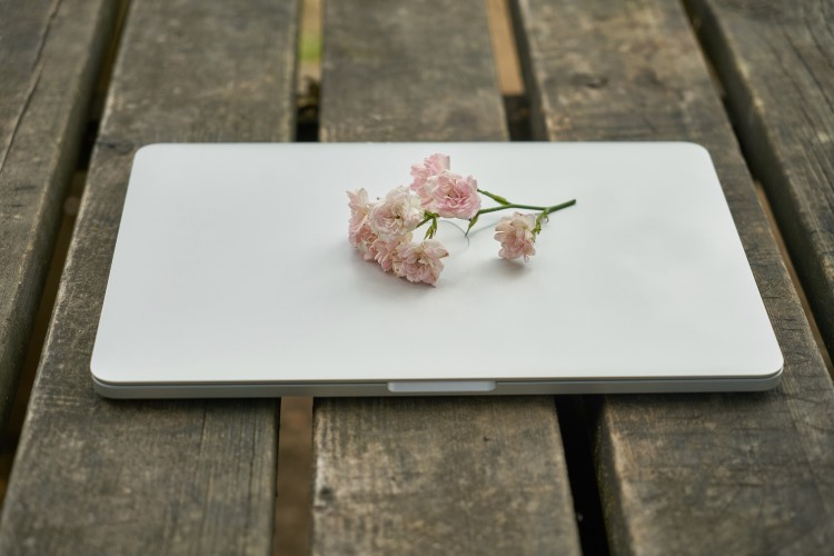 Laptop and flowers.