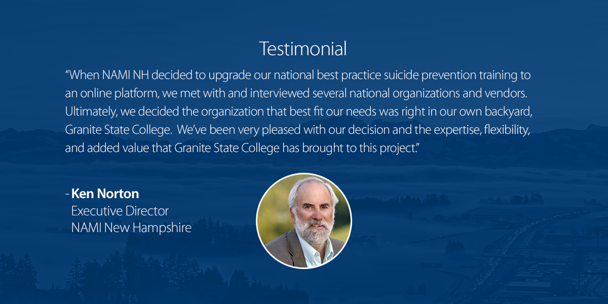 Testimonial from an organization that partners with Granite State College.